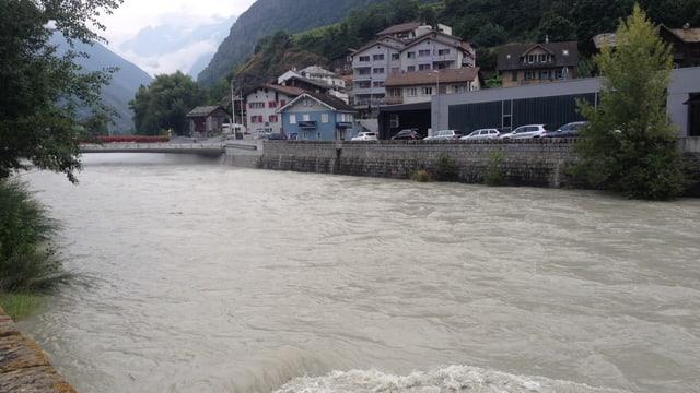 Im Wallis gab es im August kräftigen Regen. Die Vispa am 9. August.