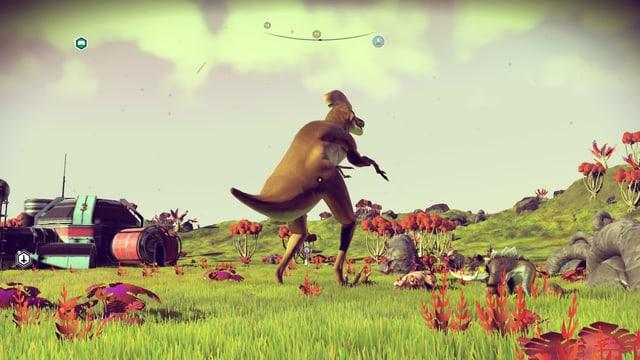 Vor einem Aussenposten spaziert ein Dino vorbei.