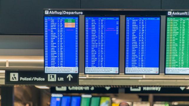 Abflug-Tafel im Flughafen Kloten.