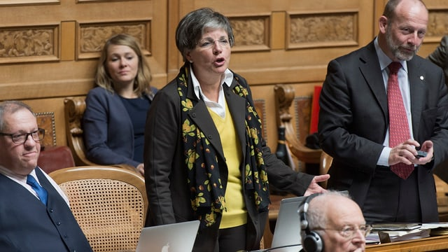 Lucrezia Meier-Schatz im Parlamentssaal im Bundeshaus.