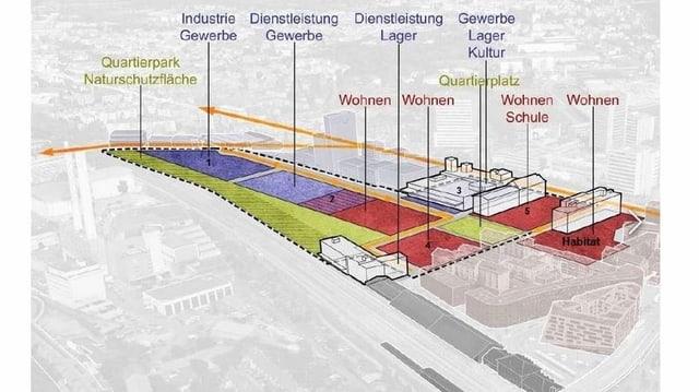 Plan Lysbüchel mit eingezeichneten Arealen für Wohnen und Gewerbe.