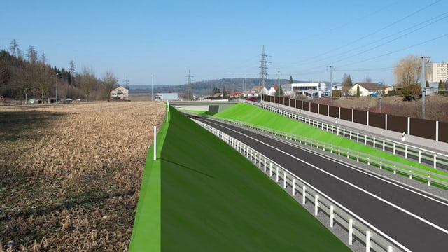Animation des neuen Autobahnzubringers Richtung Hausen.