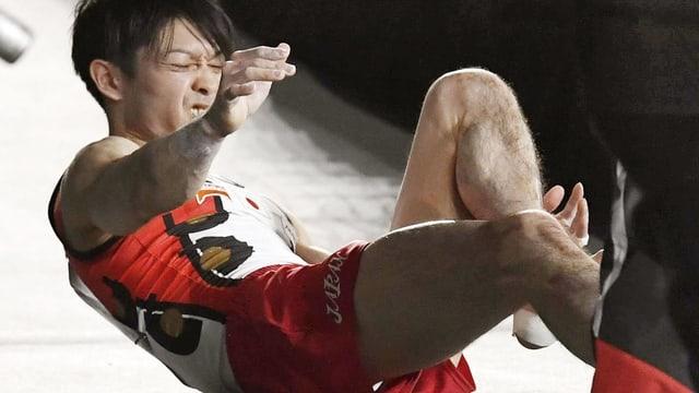 Kohei Uchimura muss in Montreal wegen Fussverletzung aufgeben.