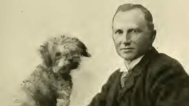 Bild von Oskar Panizza mit Hund Puzzi um 1897