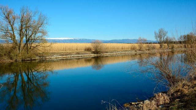 Blick über den blauen Broyekanal, am Horizont der Jura mit dem Chasseral.