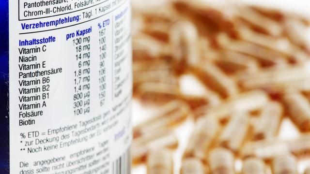 Inhaltsliste eines Vitaminpräparats