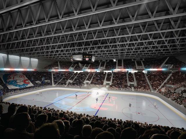 Eine richtige Hockey-Arena: So sieht das neue Stadion innen aus.