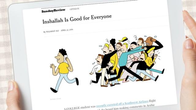 Eine Frau hält ein iPad: Auf dem Ipad ist eine Zeichnung. Ein Muslime telefoniert und eine Horde von Menschen rennt weg.