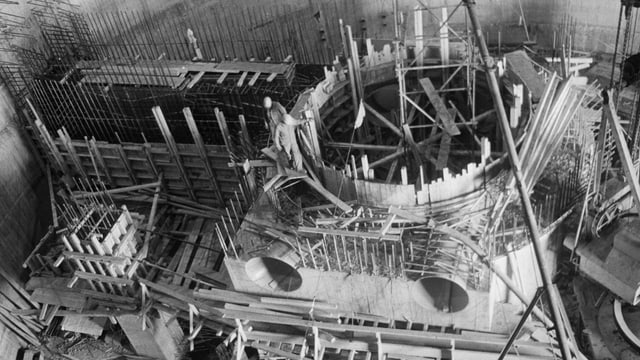 Die Baustelle des AKWs Beznau, aufgenommen am 10.Oktober 1967.