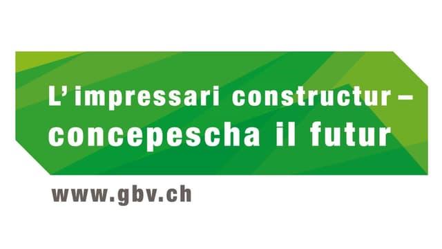 """In logo verd cun l'inscripziun """"L'impressari constructur - concepescha il futur"""""""