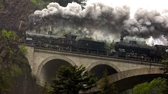 Eine historische Kompostion mit zwei Dampflokomotiven anlässlich des 125-jährigen Gotthardbahn-Jubiläums im Juni 2007 auf der Strecke zwischen Erstfeld und dem Tessin.