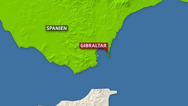 Karte von Gibraltar.