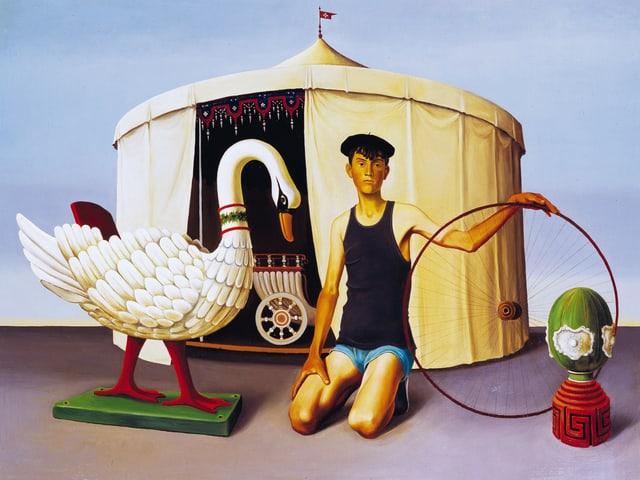 Das Bild zeigt ein Zirkuszelt mit einem Schwan und einem Jungem.