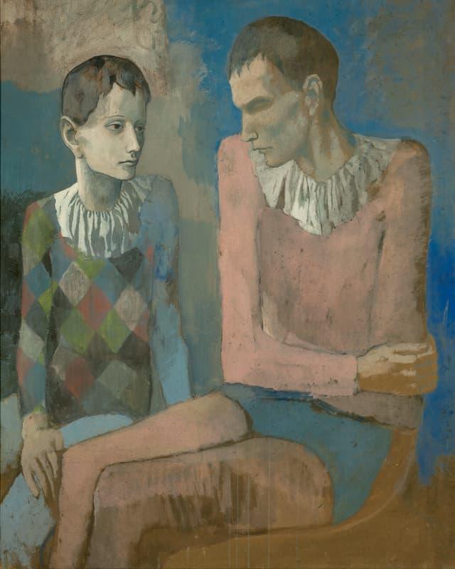 Ein in Blautönen gehaltenes Gemälde zeigt zwei junge Männer