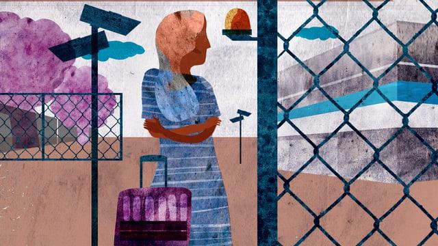 Illustration: Eine Frau im Gefängnis.