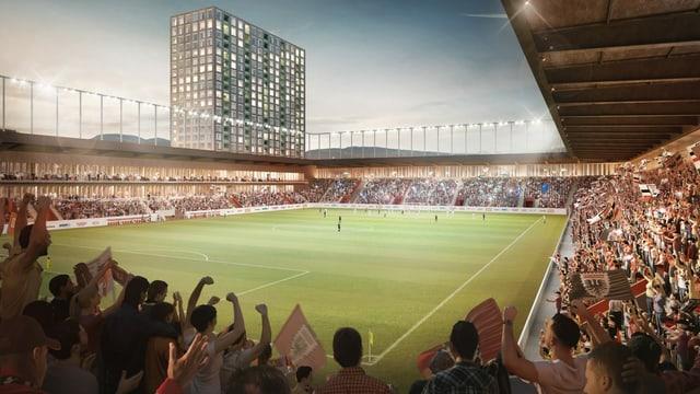 Visualisierung des neuen Stadions an einem Fussballspiel