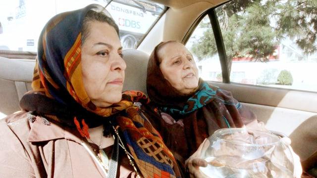 Zwei Frauen mit Kopftuch in einem Taxi, eine hält ein Aquarium.