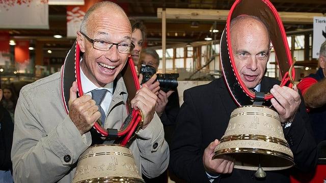 Olma-Verwaltungsratspräsident Thomas Scheitlin und Bundespraesident Ueli Maurer auf dem Rundgang durch die Olma 2013.