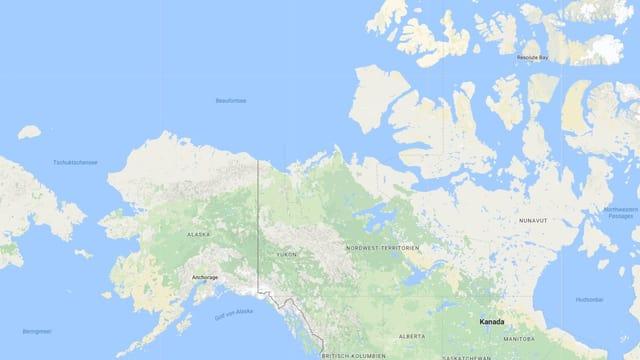 Carta d'Alasca cun scrit si en il nord las duas mars.