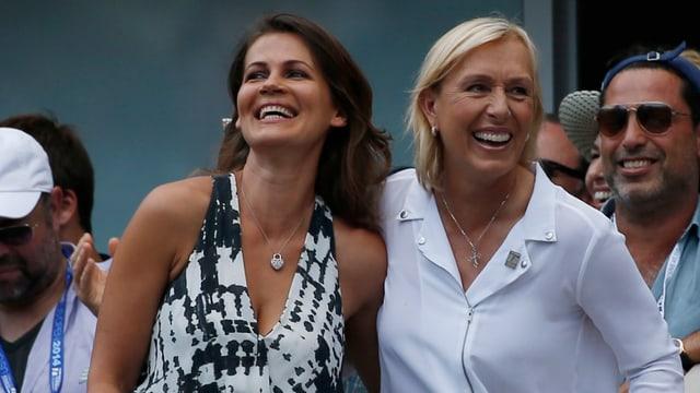 Julia Lemigova und Martina Navratilova bei den US Open im September 2014