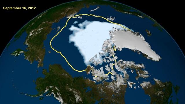 Grafik zeigt Umfang des wegschmelzenden Eises an der Arktis.