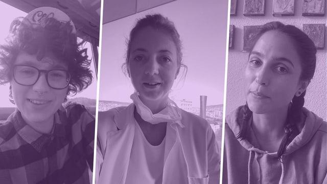Tontechnikerin Flo, Ärztin Senta, Barkeeperin Amy