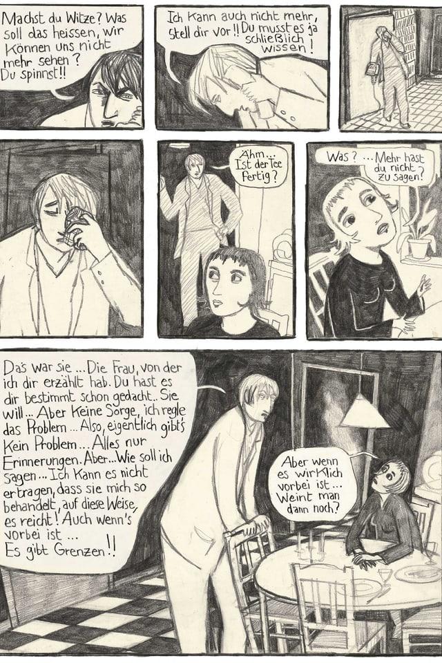 Ein Comic-Ausschnitt mit sieben Bildern.