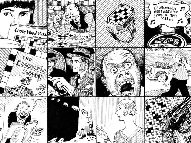 Viele verschiedene quadratische Illustrationen