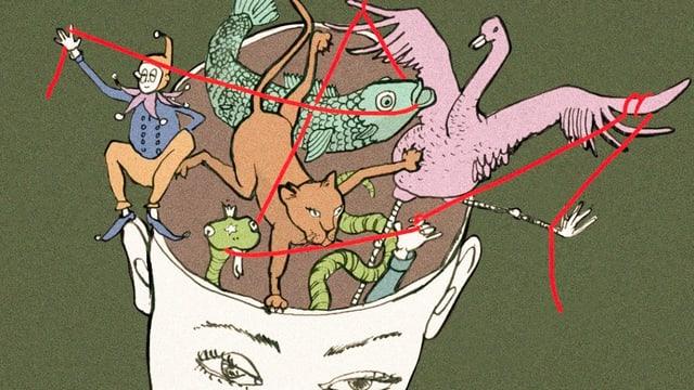 Illustration: Ein roter Faden verbindet verschiedene Figuren in einem Gehirn