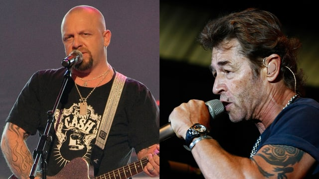 Links: Gölä mit Gitarre. Rechts: Peter Maffay mit Mikrofon in der Hand.