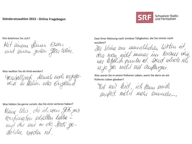 Fragebogen von Hannes Germann