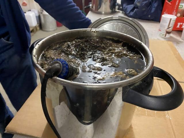 La fermentaziun cuzza radund in'emna. Qua è da vesair il liquid cun timian ch'ins po baiver.