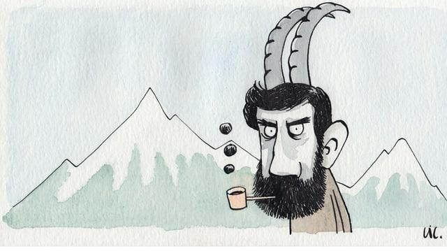 Ein Mann mit Steinbock-Hörner schaut finster in die Gegend und raucht Pfeife.