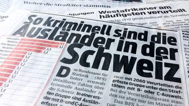 Zeitungs-Schlagzeilen zur Strafurteilstatistik