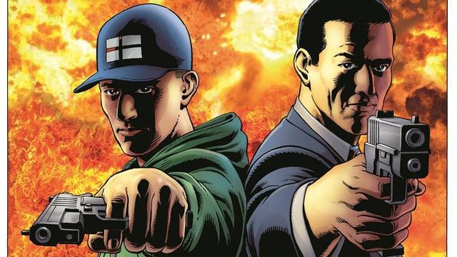 Die gezeichneten Comichelden Eggsy und Harry Hart zielen mit ihren Waffen auf den Betrachter des Bildes.
