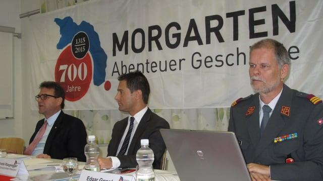 Beat Villiger, André Rüegsegger und Projektleiter Edgar Gwerder (von links) informierten über das Projekt.