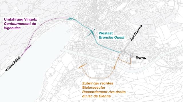 Karte Stadt Biel mit eingezeichneter Streckenführung