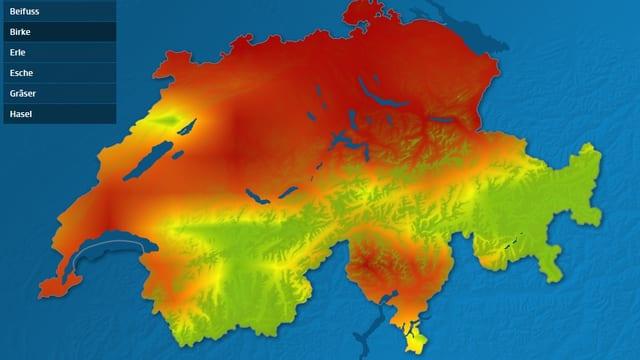 In einer Schweizerkarte sind die Gebiete mit unterschiedlicher Pollenbelastung eingezeichnet.