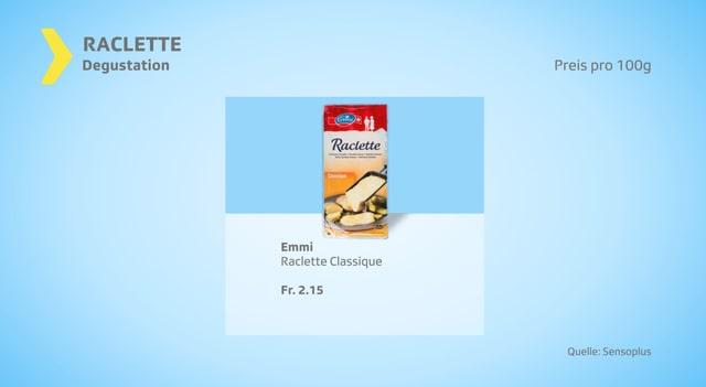 Beliebtestes Raclette in der Degustation: Raclette Classic von Emmi, erhältlich in Coop, Manor, Spar und Volg