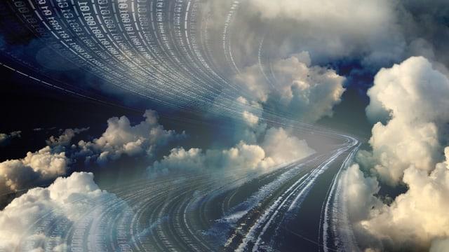Bildmontage: Eine Strasse durch Wolken mit verschwommenem Programmiercode.