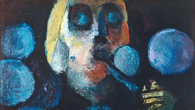 Ein Gemälde: eine Frau bläst Seifenblasen.
