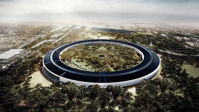 Darstellung des grossen, kreisrunden neuen Apple-Gebäudes