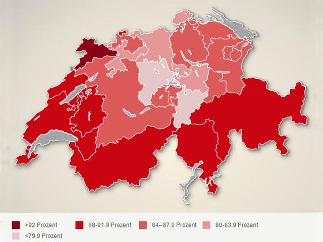 Grafik Schweizer Karte mit Kantonsgrenzen.