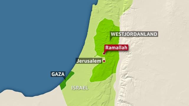 Landkarte Israels eingezeichnet mit den palästinensischen Gebieten