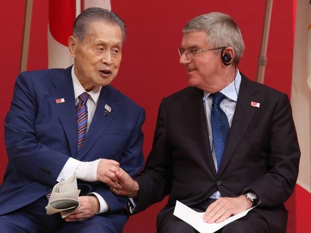 OK-Präsident Yoshiro Mori und IOC-Präsident Thomas Bach.