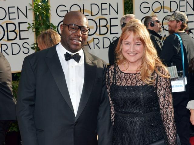 Steve McQueen und seine Freundin Bianca Stigter an der Verleihung des Golden Globes.