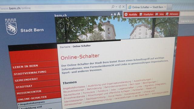 Die Internetseite der Stadt Bern.
