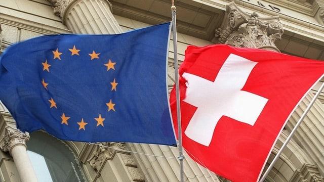 Las bandieras da l'Uniun europeica e da la Svizra