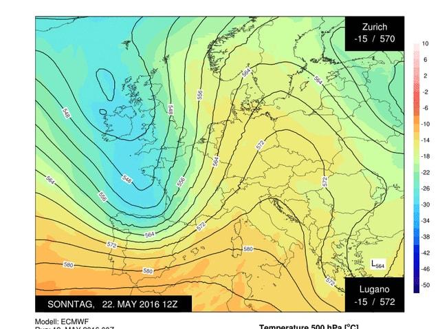 Die Kalte Luft liegt über dem Westen von Frankreich