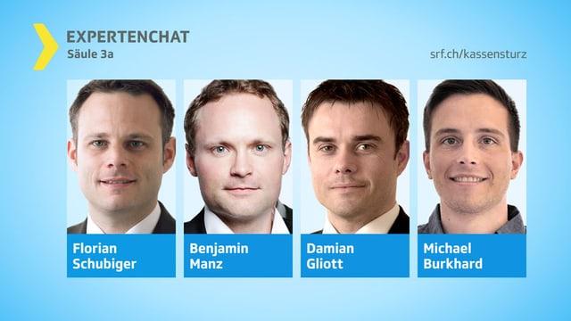 Porträts der vier Chat-Experten.